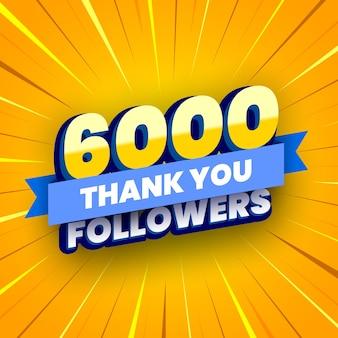 6000 seguaci banner con nastro blu