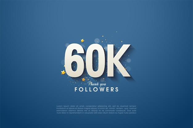 60k follower con figura tridimensionale illustrazione su sfondo blu navy.