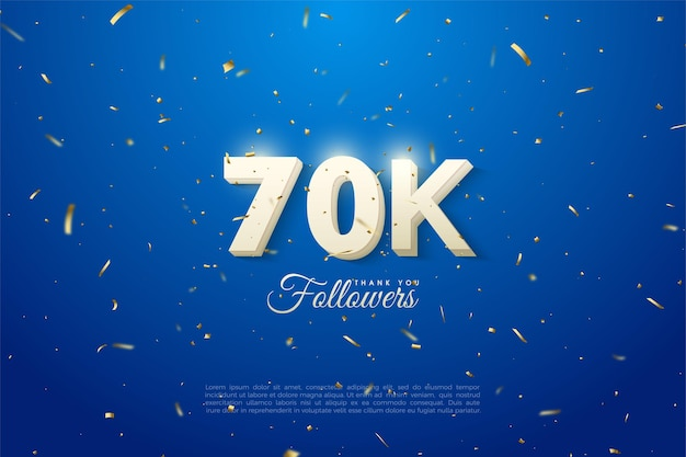Follower 60k con un numero 3d su sfondo blu con macchie d'oro.