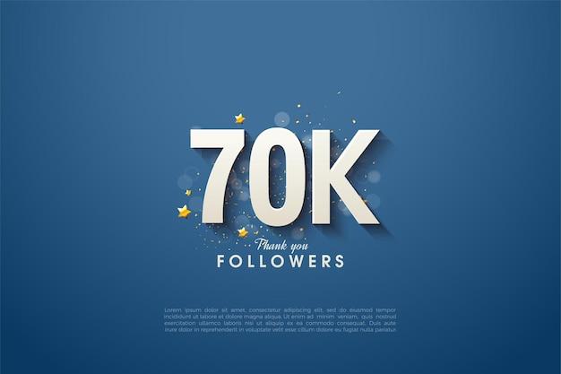 Follower 60k con numeri 3d ombreggiati su uno sfondo blu navy.