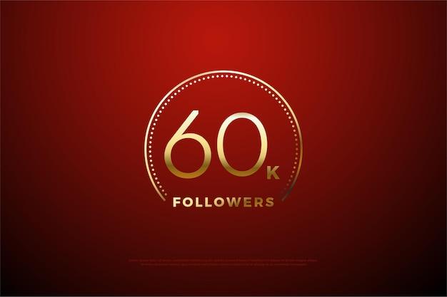 60k seguaci con punti e linea dorata che circondano i numeri.