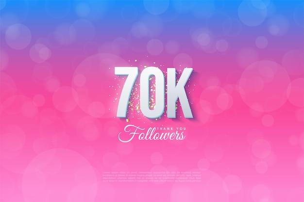 60k follower con sfondo illustrato graduato dal blu al rosa.