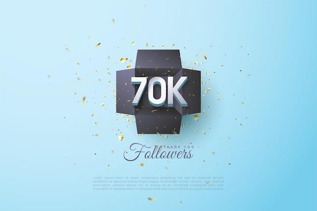 60k follower con numeri illustrati in una scatola nera.
