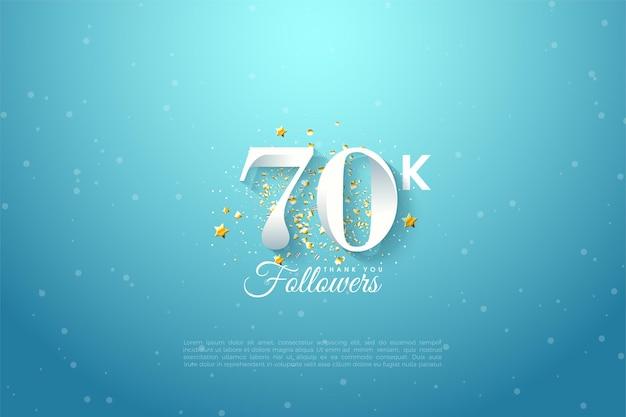 Seguaci di 60k con numeri illustrati su un cielo blu.