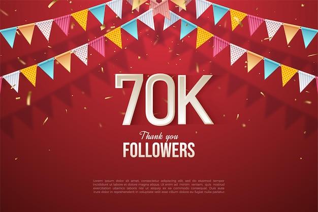 60k follower con numeri illustrati e striscioni colorati.