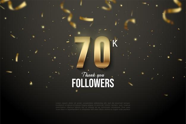 Seguaci di 60k con numeri illustrati ricoperti di nastri d'oro.
