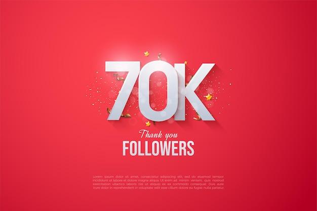 60k follower con illustrazioni di lettere e numeri sovrapposti.