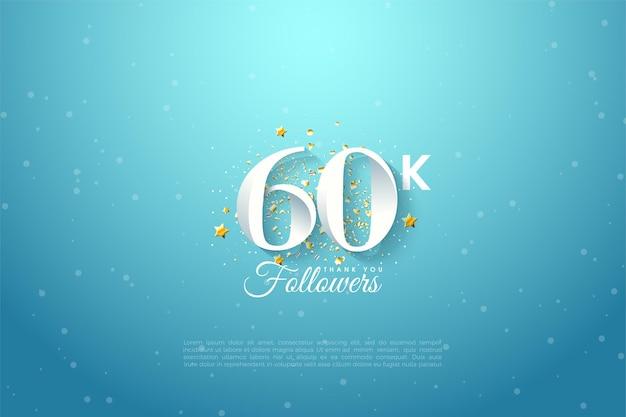 60k seguaci con illustrazione numerica sul cielo blu.