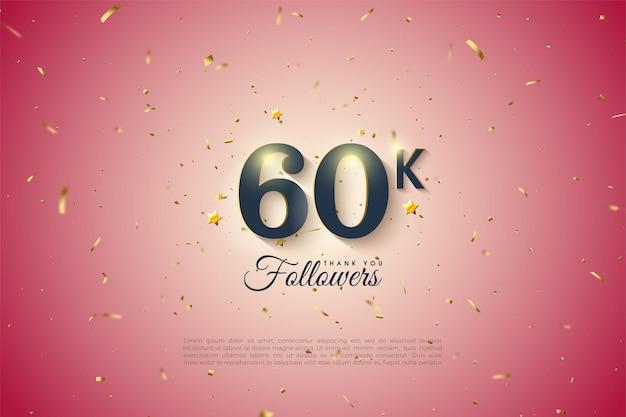 60k follower con illustrazione numerica su sfondo rosa chiaro.