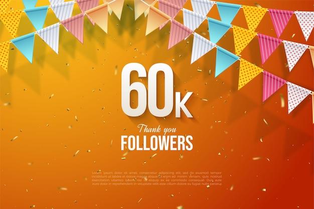 60k follower con illustrazioni numeriche sotto bandiere colorate.
