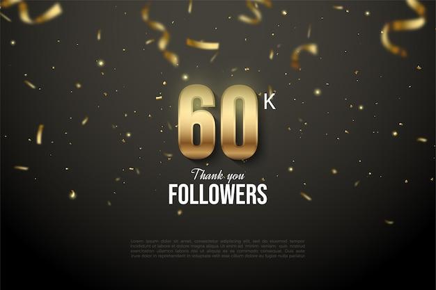 60k seguaci con illustrazioni numeriche ricoperte di nastri e lamina d'oro.