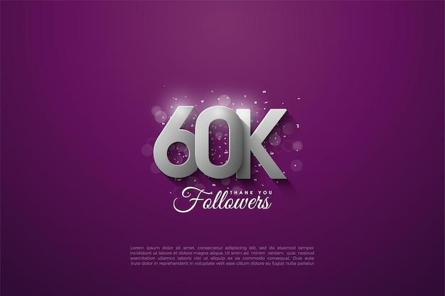 60k seguaci con sovrapposizione di numeri d'argento 3d illustrazione su sfondo viola.