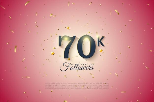 60k follower con illustrazioni numeriche ombreggiate.