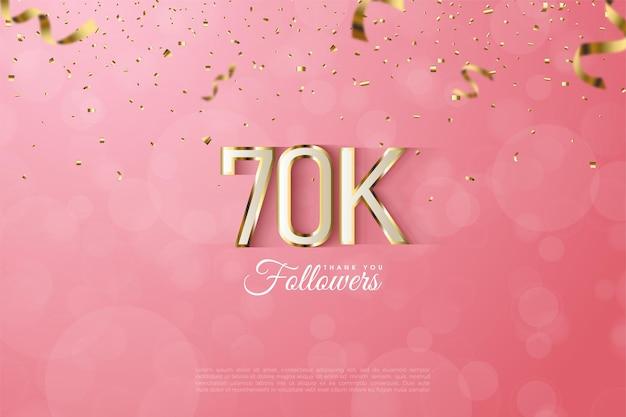 60k follower con sontuosa illustrazione del numero a strisce con bordo dorato.