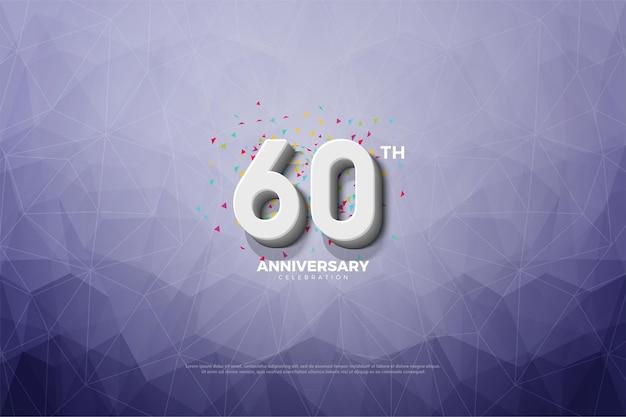Sfondo 60 ° anniversario con sfondo di carta di cristallo.