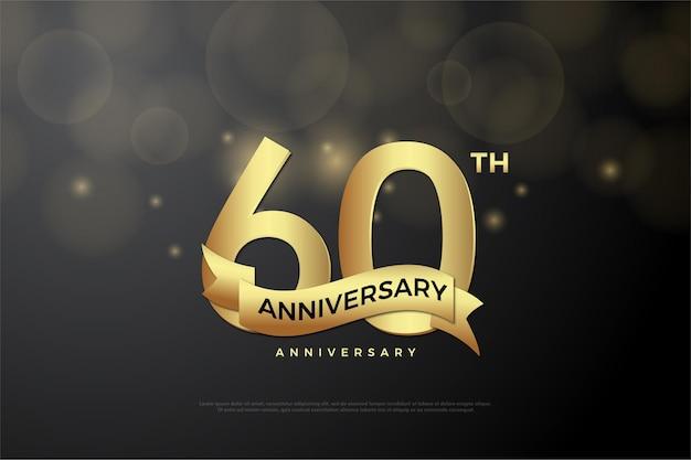Sfondo del 60 ° anniversario con numeri e nastri d'oro.