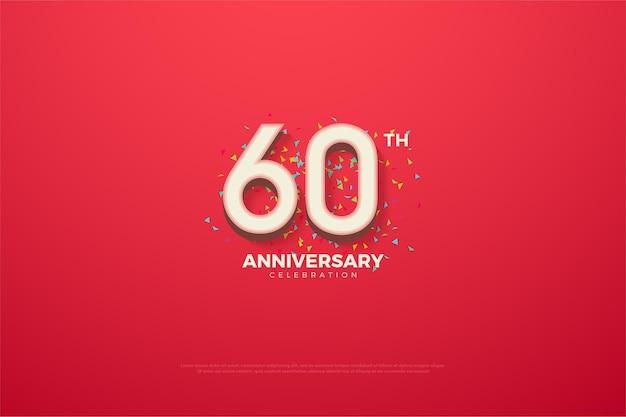 60 ° anniversario con doodle colorato.