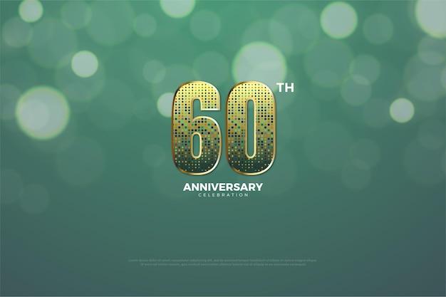 60 ° anniversario con numeri glitter.