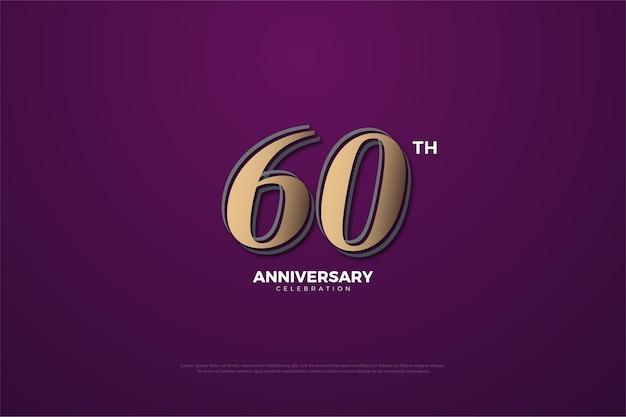 60 ° anniversario con numeri illustrati.