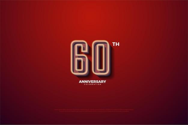 60 ° anniversario con numeri e sfondi.