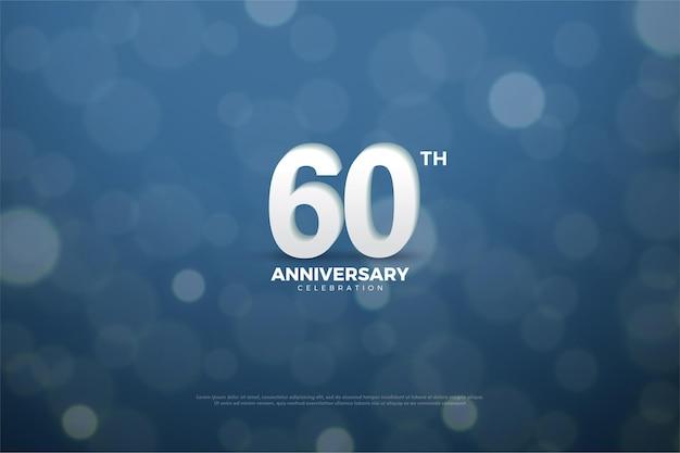 60 ° anniversario con numeri su sfondo effetto luce.