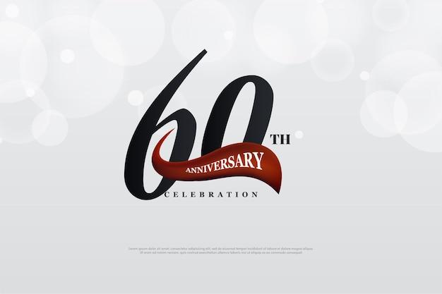 60 ° anniversario con numeri e nastro rosso.