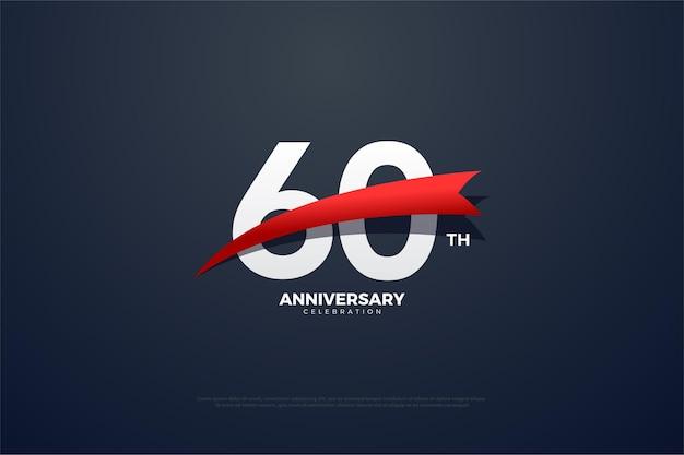 60 ° anniversario con immagine rossa davanti ai numeri.