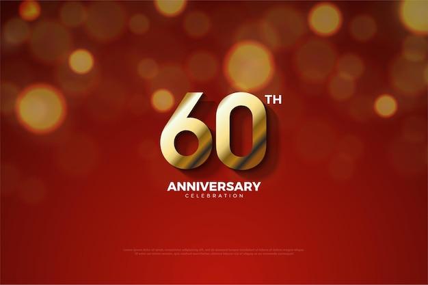 60 ° anniversario con un'ombra che taglia il numero.