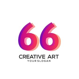 66 numero logo gradiente design colorato