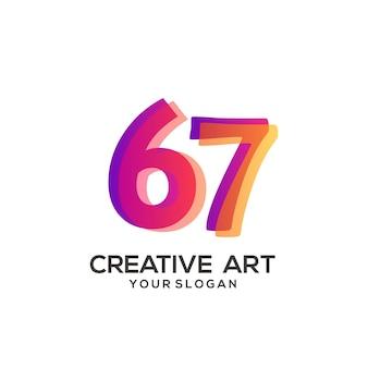67 numero logo gradiente design colorato