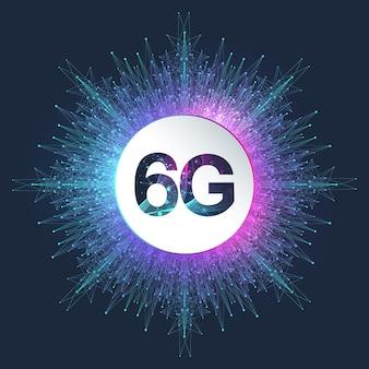 Sistemi wireless di rete 6g e illustrazione vettoriale di internet. rete di comunicazione. bandiera di concetto di affari. banner di concetto di intelligenza artificiale e apprendimento automatico.