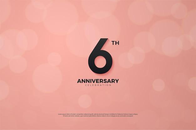 6 ° anniversario sfondo con effetto bokeh rosa