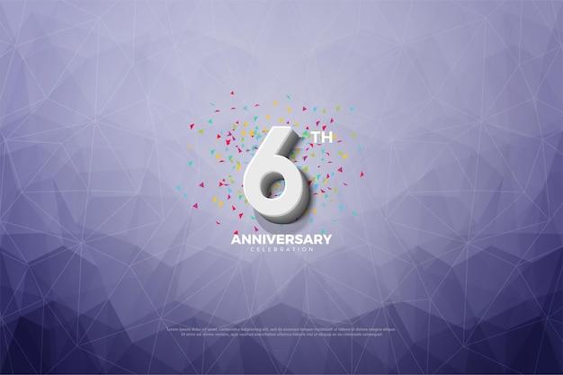6 ° anniversario sfondo con carta cristallizzata