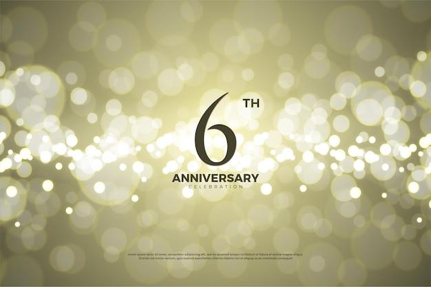 6 ° anniversario sfondo con effetto bokeh oro