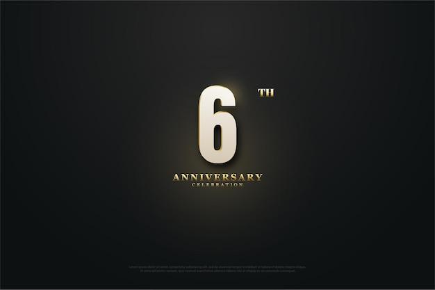 6 ° anniversario sfondo con effetto luce dietro il numero