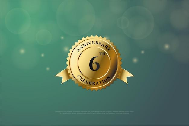Sfondo del 6 ° anniversario con numero al centro della medaglia d'oro