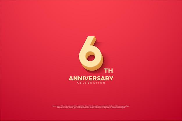 6 ° anniversario con numero animato