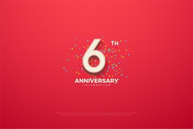 6 ° anniversario con doodle colorato