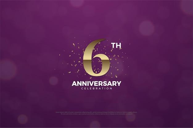6 ° anniversario con pezzi marroni dorati decorati