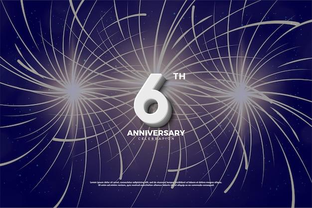 6 ° anniversario con fuochi d'artificio dietro di esso