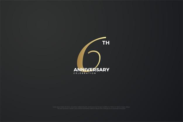 6 ° anniversario con numero univoco