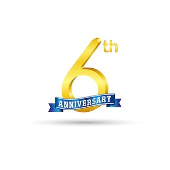 6 ° logo dorato anniversario con nastro blu isolato su sfondo bianco. logo 3d oro 6 ° anniversario