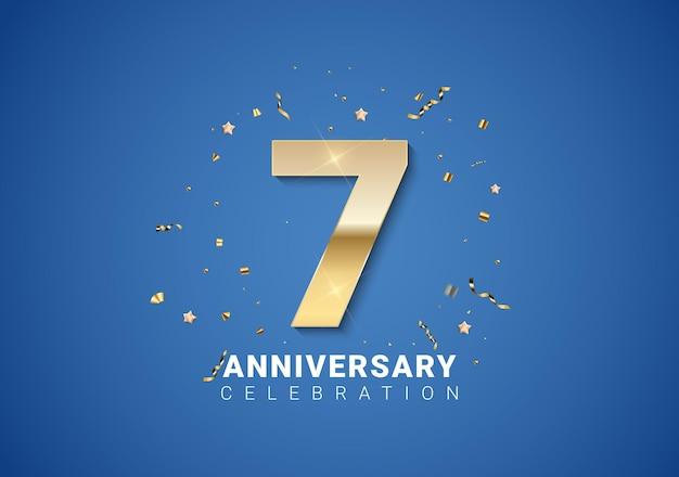 Sfondo 7 anniversario con numeri dorati, coriandoli, stelle su sfondo blu brillante. illustrazione vettoriale eps10