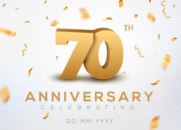 Numeri d'oro 70 anniversario con coriandoli dorati. celebrazione del 70° anniversario
