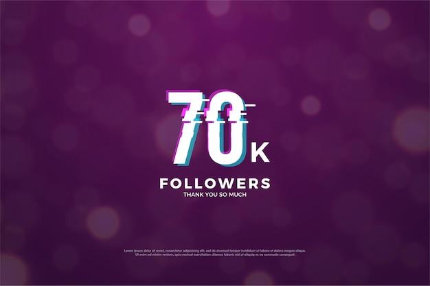 Sfondo di 70mila follower con un effetto fetta di pace