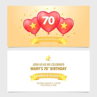 Carta di invito anniversario di 70 anni