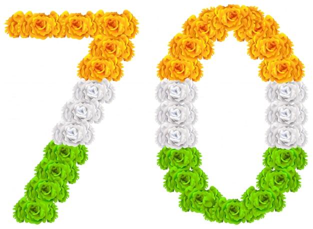 Festa dell'india di 70 anni anniversario. numero 70 di fiori tricolori bandiera nazionale