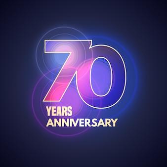 Icona di vettore di 70 anni anniversario, logo. elemento di design grafico con bokeh per il 70° anniversario