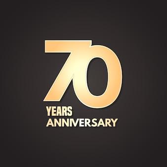 Icona di vettore di 70 anni anniversario, logo. elemento di design grafico con numero d'oro su sfondo isolato per il 70° anniversario