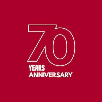 Icona di vettore di 70 anni anniversario, logo. elemento di design grafico con numero e composizione del testo per il 70° anniversario
